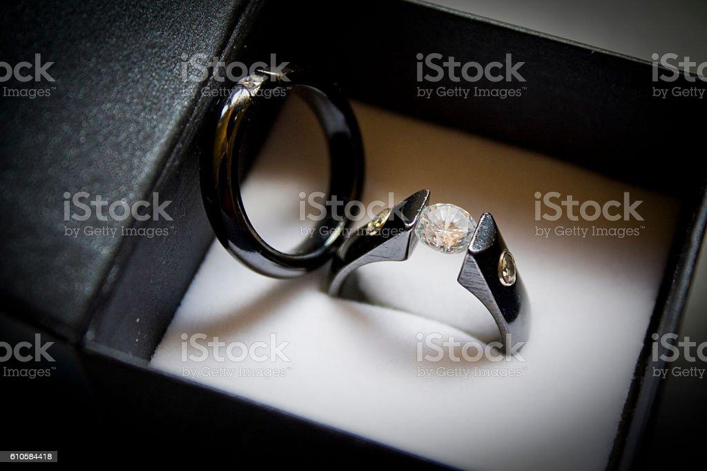 Wedding Rings, Box, Window Light, Black Titanium