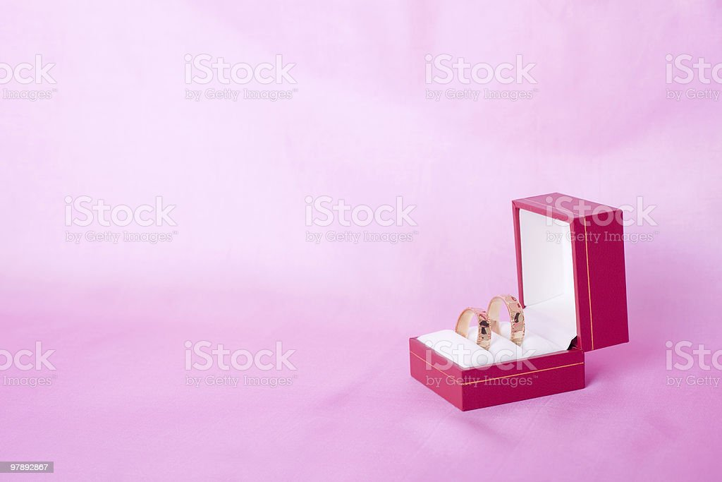 Wedding rings in a box royalty-free stock photo