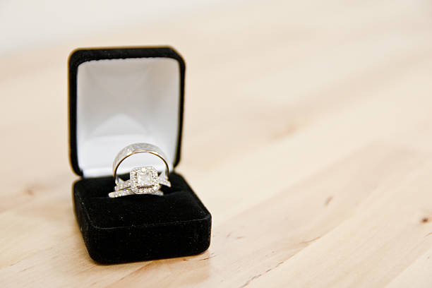 Wedding Rings in a Jewelry Box stock photo