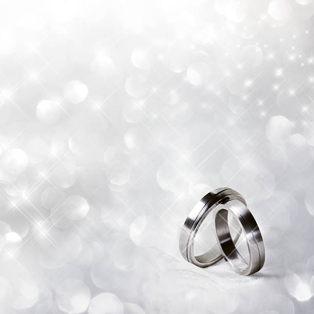Wedding rings in silver stock photo