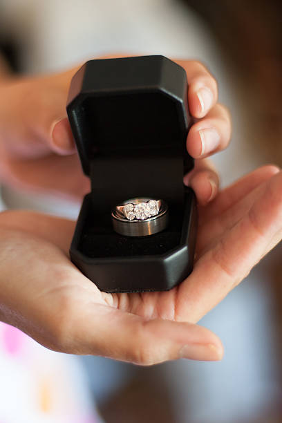 Wedding Rings in the Brides Hands stock photo