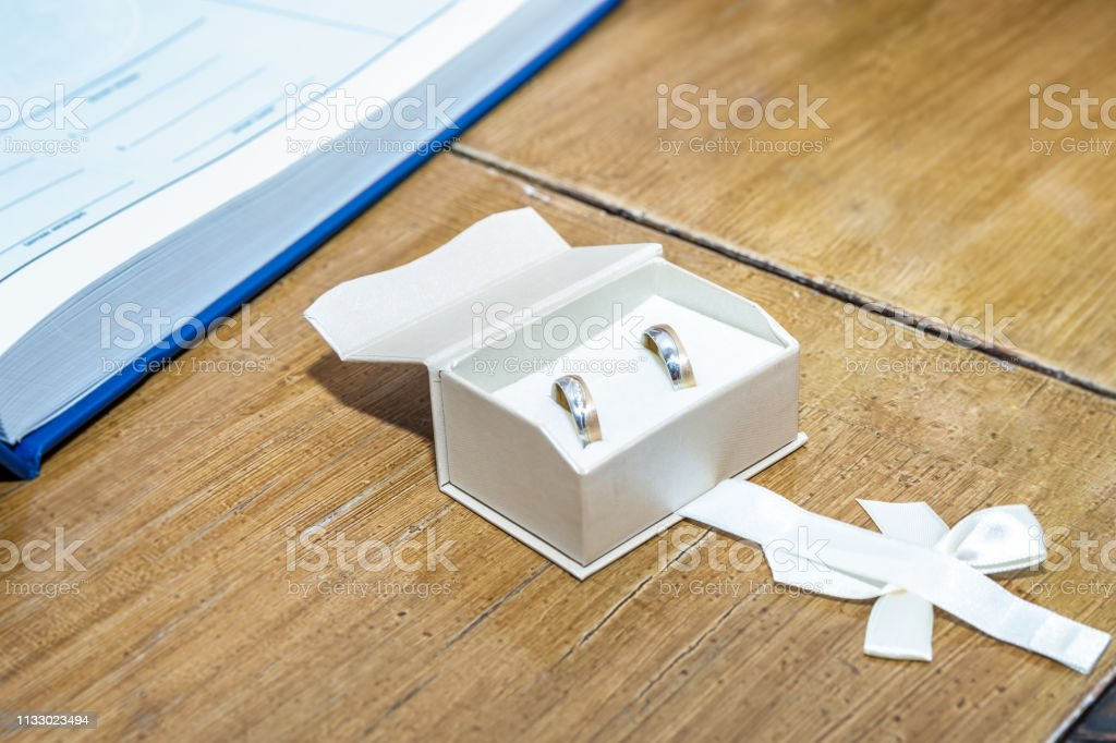 Wedding Rings In White Open Jewelry Box On The Marriage Ceremony