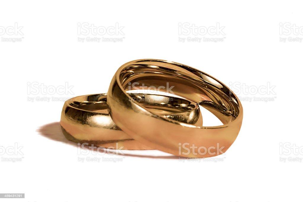 Wedding rings isolated stock photo