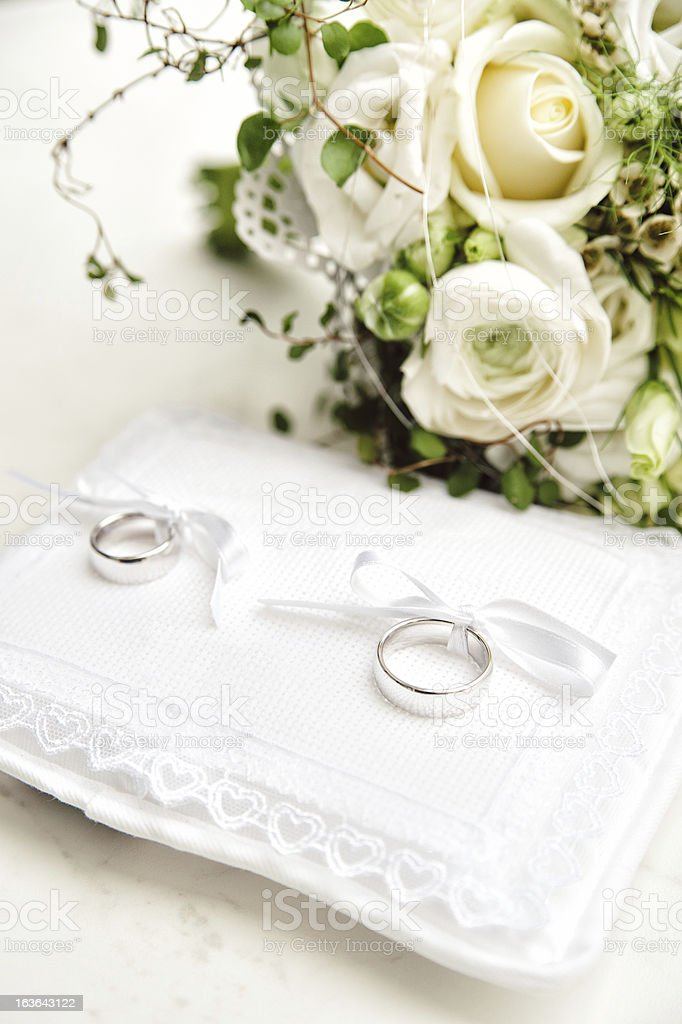 Wedding Rings on a Pad royalty-free stock photo