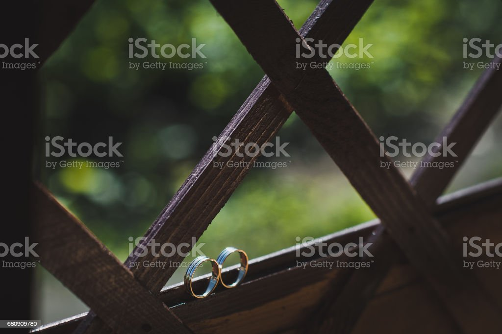 Wedding rings on a wooden box 5002. royalty-free stock photo