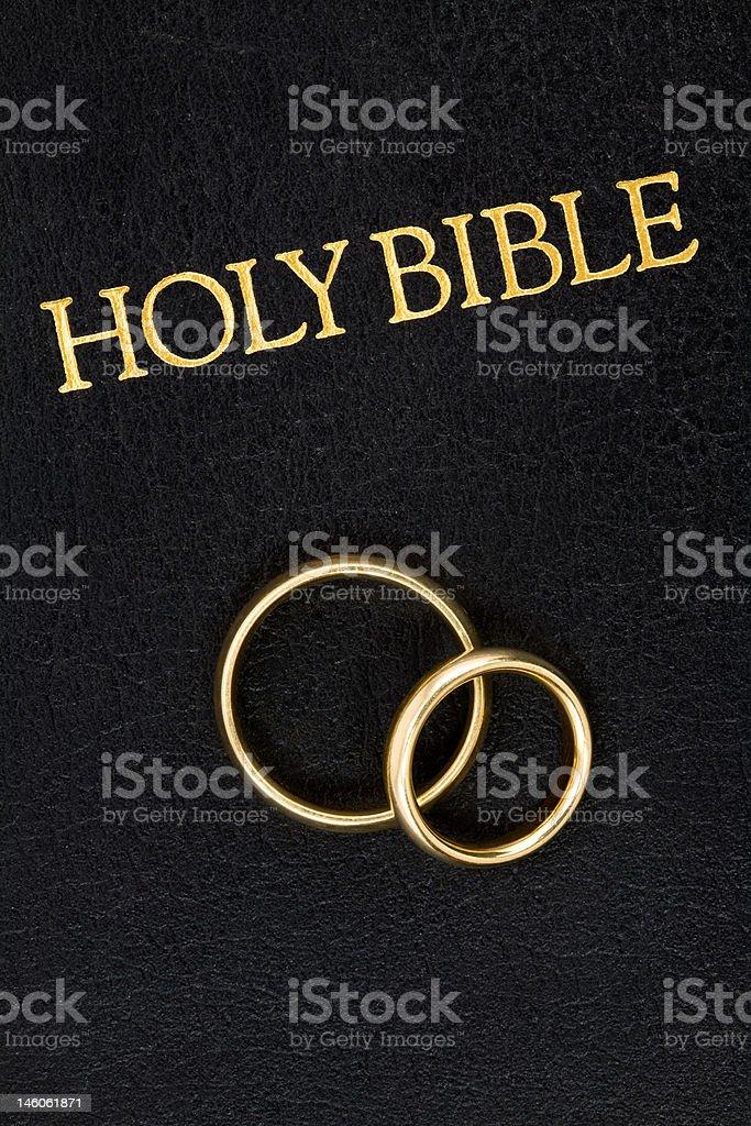Wedding Rings on Bible royalty-free stock photo