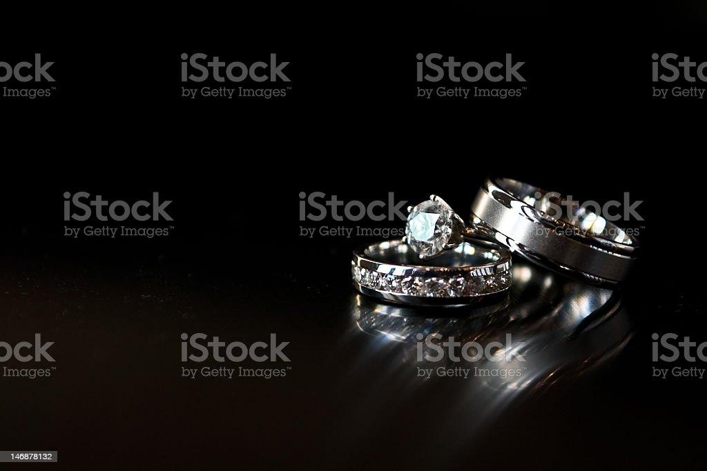 Wedding Rings on Black stock photo