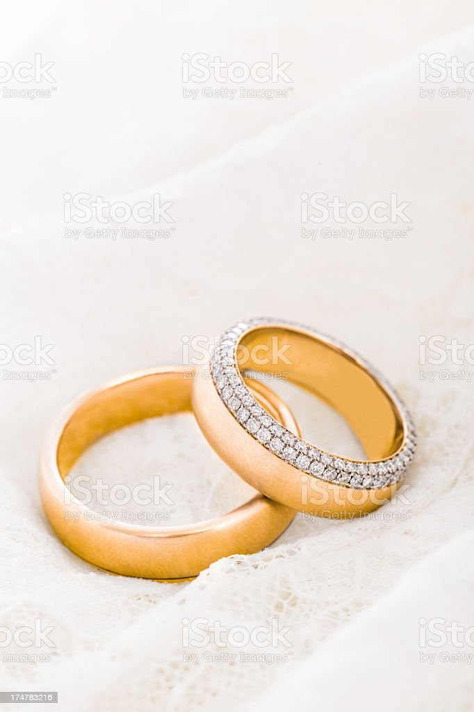 Wedding Rings on guipure lace royalty-free stock photo
