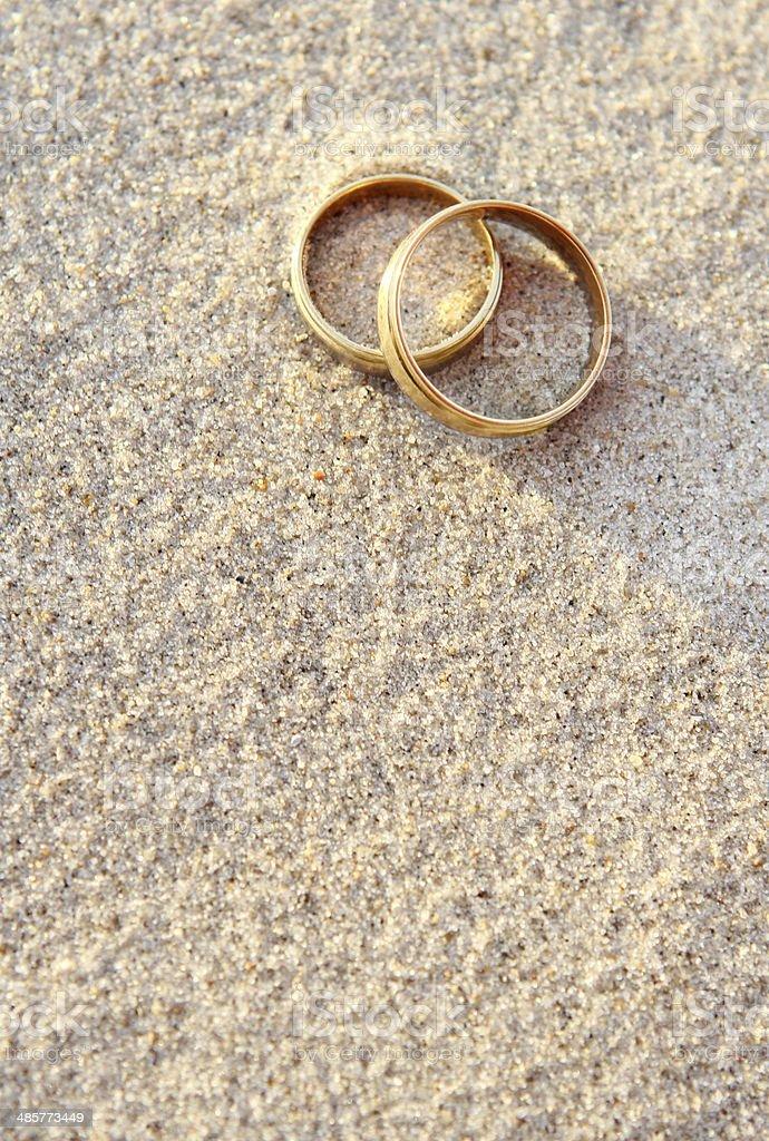 Wedding Rings on the Beach stock photo