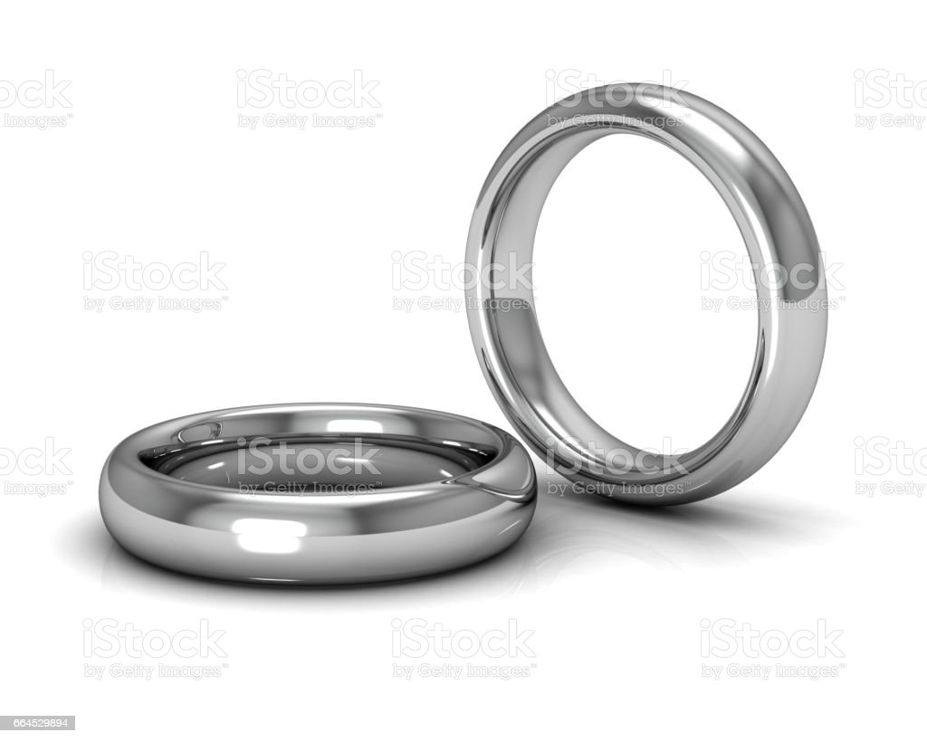 wedding rings on white background (3D rendering) royalty-free stock photo