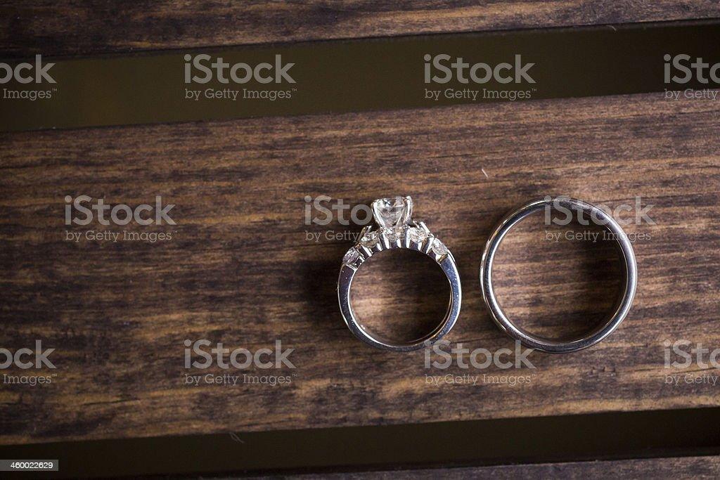 Wedding Rings on Wood Box stock photo