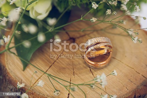 Two wedding rings with diamonds on wooden stump with dahlias and gypsophilas