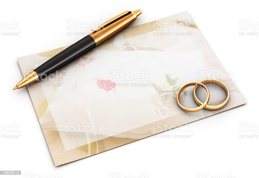 Wedding rings, pen and empty card stock photo