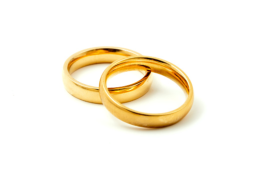 Wedding rings on a white background