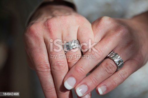 The bride's and groom's hands with rings.
