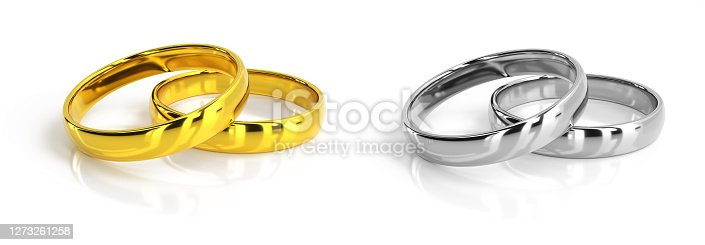 wedding rings silver and gold, isolated on white, 3d rendering