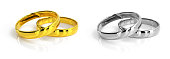 istock Wedding rings set 3d rendering 1273261258