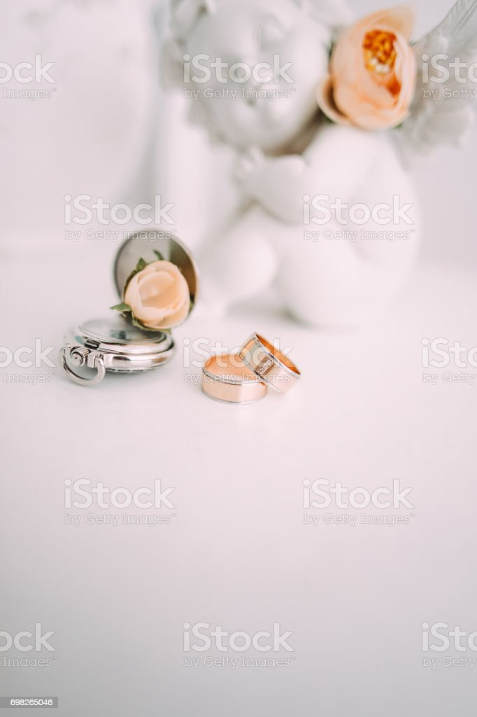 Wedding rings. Wedding symbols, attributes. Holiday, celebration. Macro. Blur stock photo