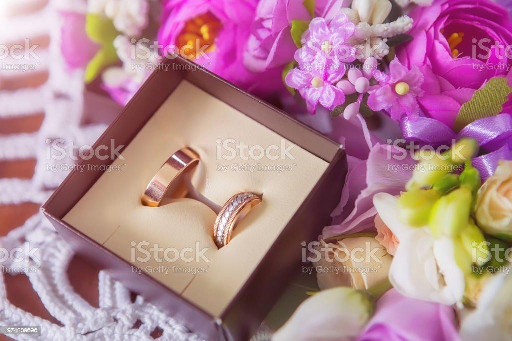 Wedding rings. Wedding symbols, attributes. Holiday, celebration. Macro stock photo