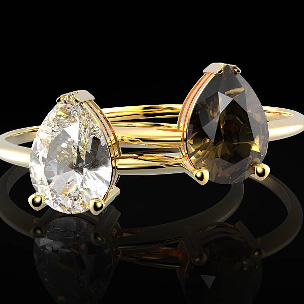 hochzeit ringe mit diamanten. 3 d abbildung - zinn hochzeit stock-fotos und bilder
