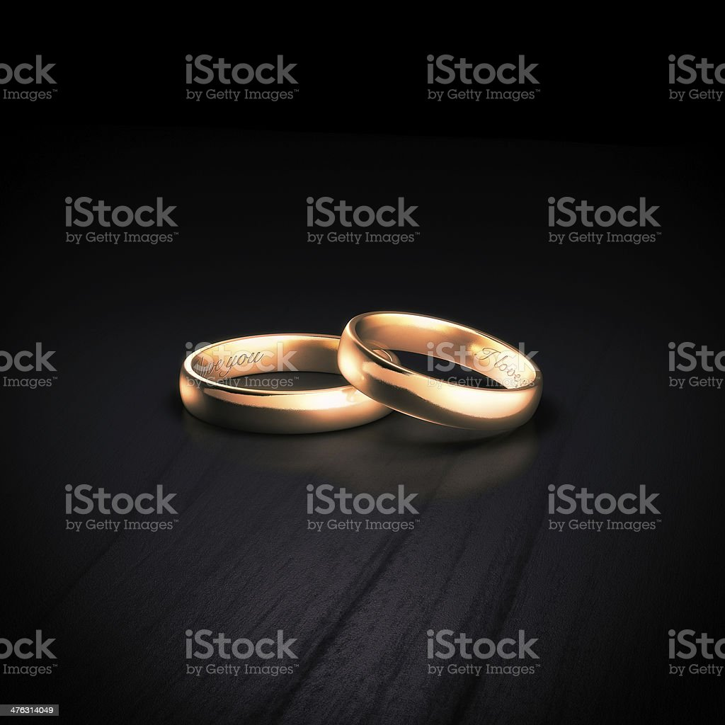 wedding rings with inscription i love you stock photo