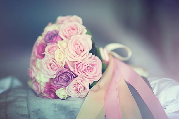 Wedding Rose Bouquet of Bride stock photo