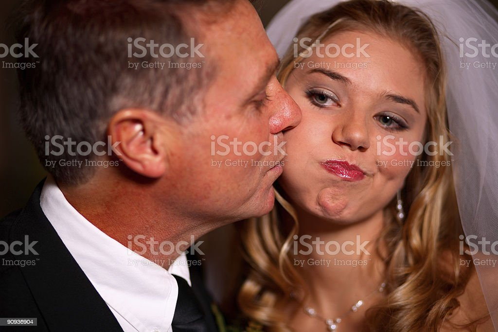 wedding scene - bride and father royalty-free stock photo