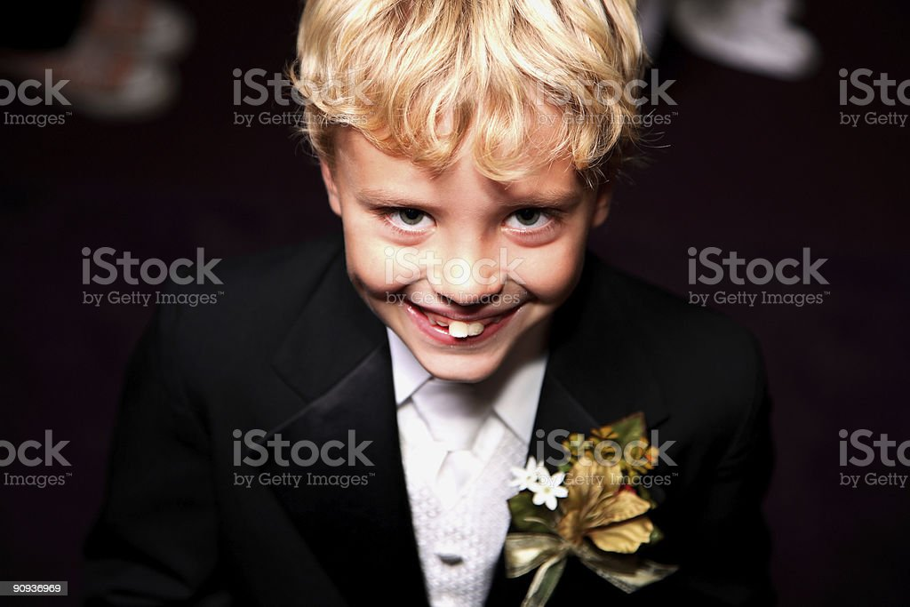 wedding scene - ring bearer boy stock photo