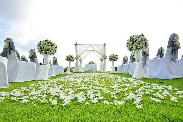 wedding set up in phuket , thailand - entertainment building stock pictures, royalty-free photos & images