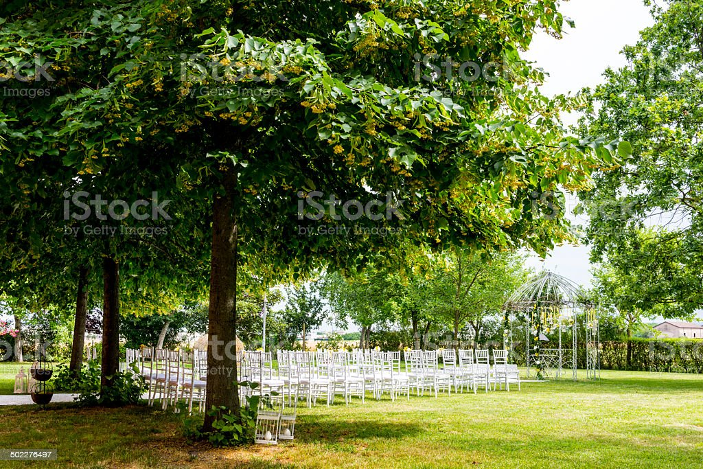 Wedding Setting in Garden, Italy stock photo