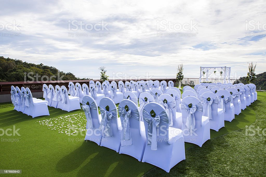Wedding setting on the roof stock photo