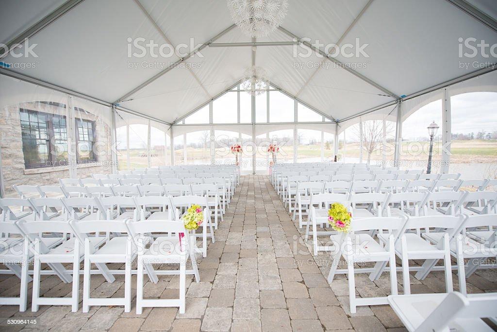 Wedding setting tent stock photo