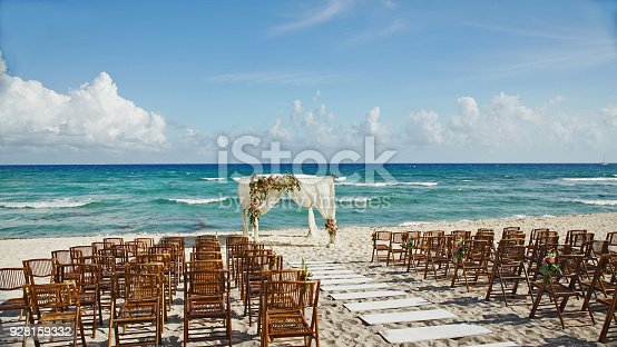 istock Wedding setup on the beach in Mexico 928159332