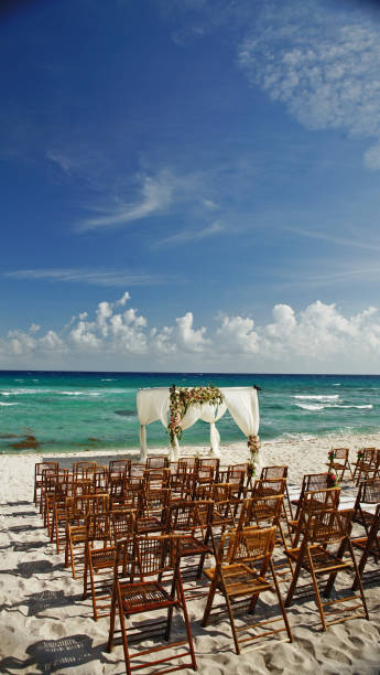 Wedding setup on the beach in Mexico Chairs and wedding setup on the white sand Mexico with the ocean in the background naya rivera stock pictures, royalty-free photos & images