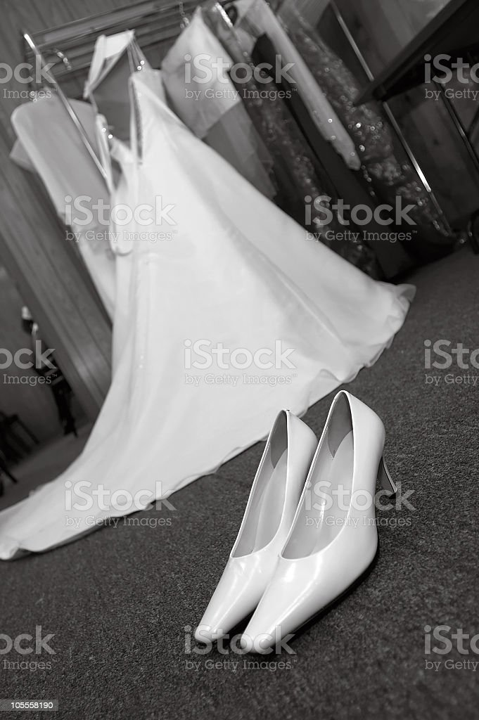 Wedding Shoes with Dress (black and white) stock photo