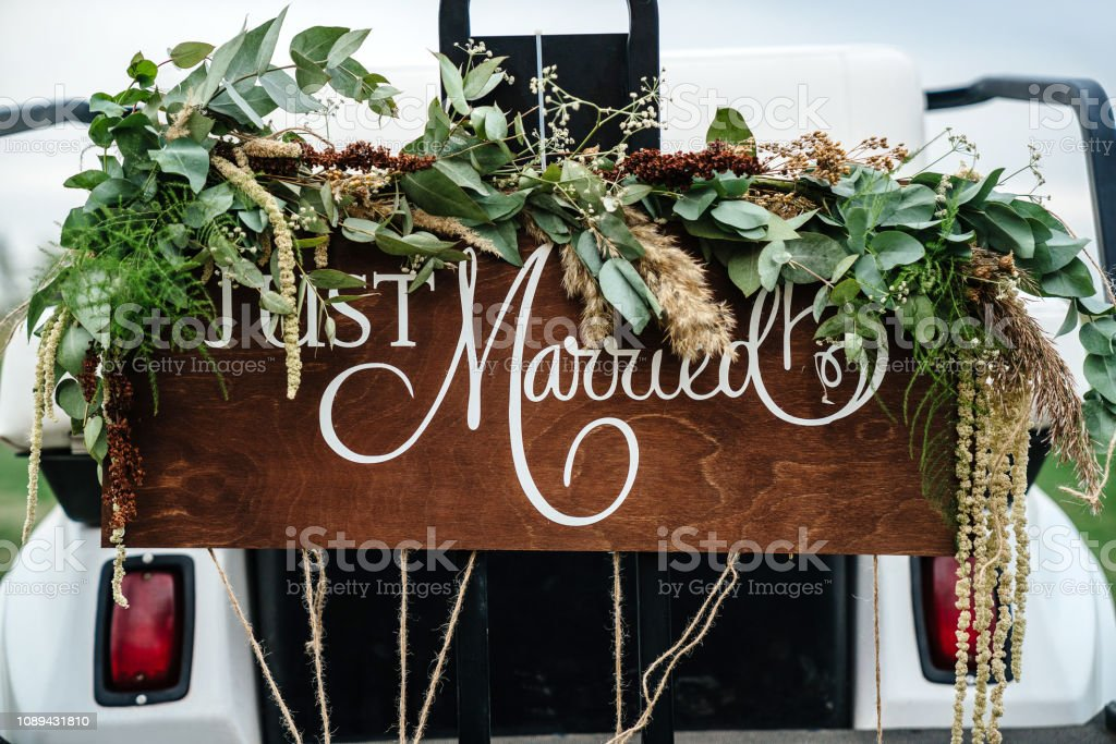 Wedding Signboard Just Married In A Golf Carriage Adorned