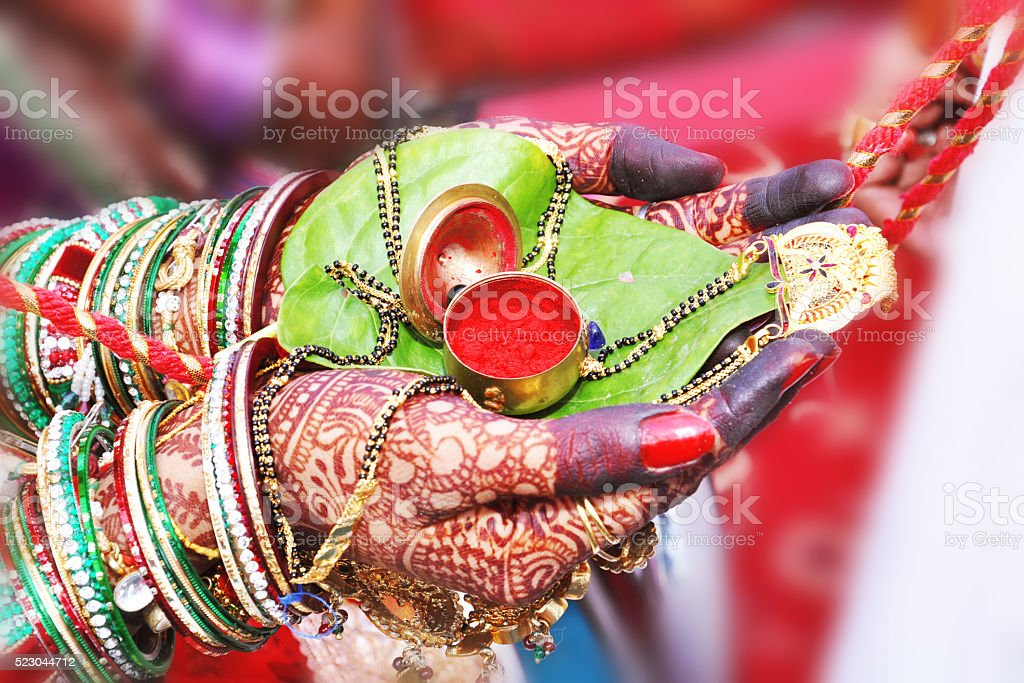 wedding sindoor stock photo