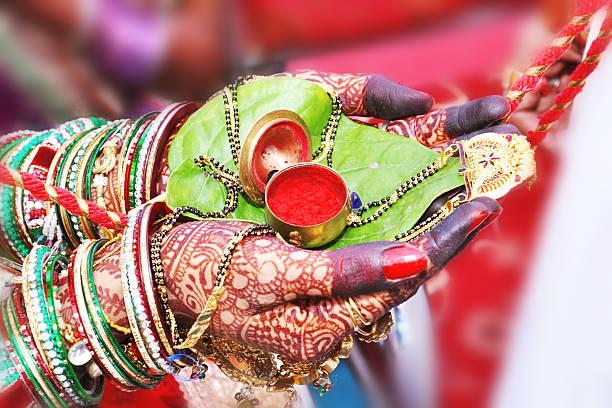 wedding sindoor - hinduism stock photos and pictures