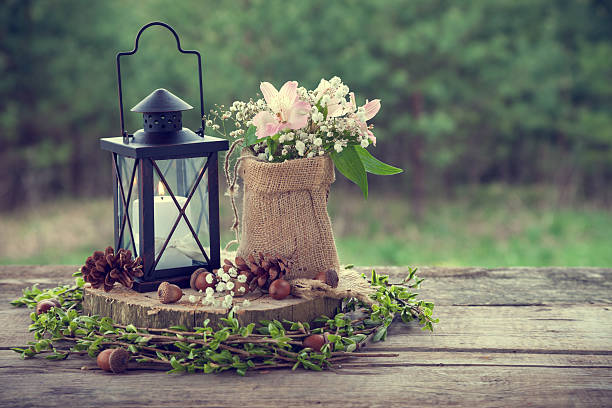wedding still life in rustic style. - kandelaar stockfoto's en -beelden