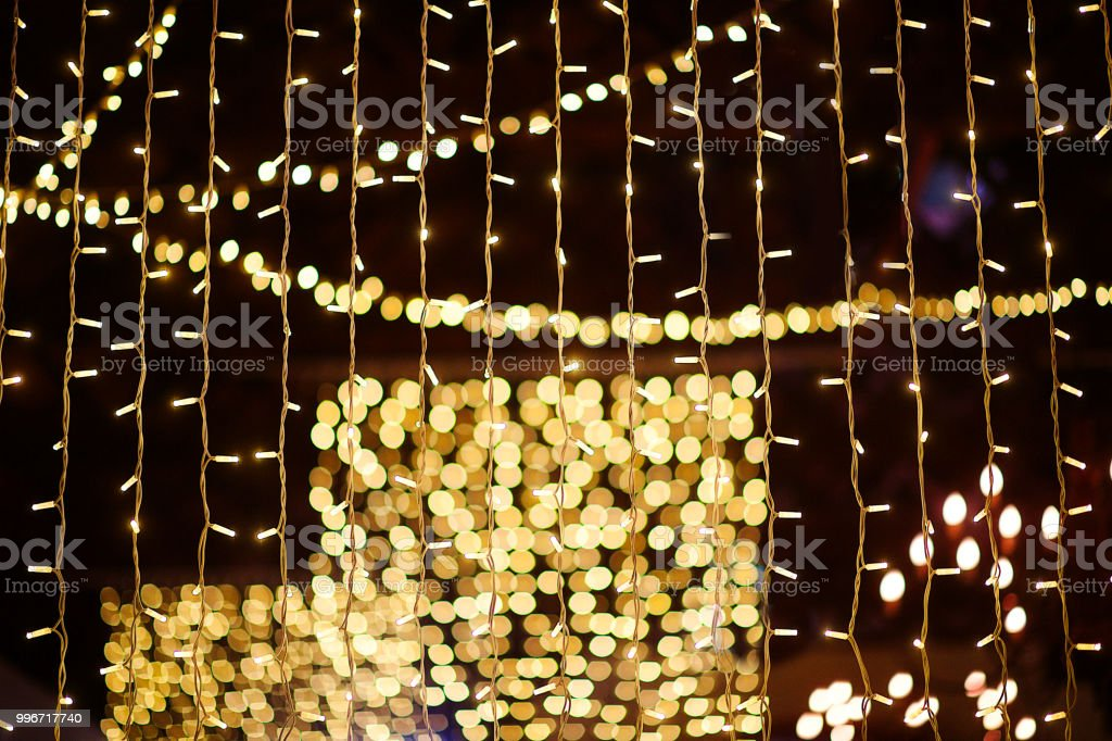 Wedding String Lights Indoors At Wedding Reception Bokeh