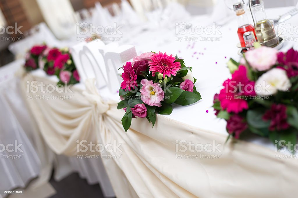 Wedding Table and Decoration With Rose Flower stock photo