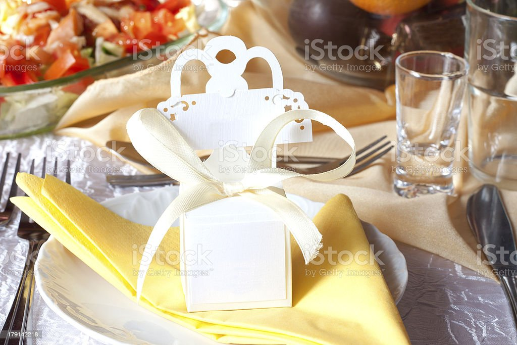 Wedding table cutlery and gift box royalty-free stock photo