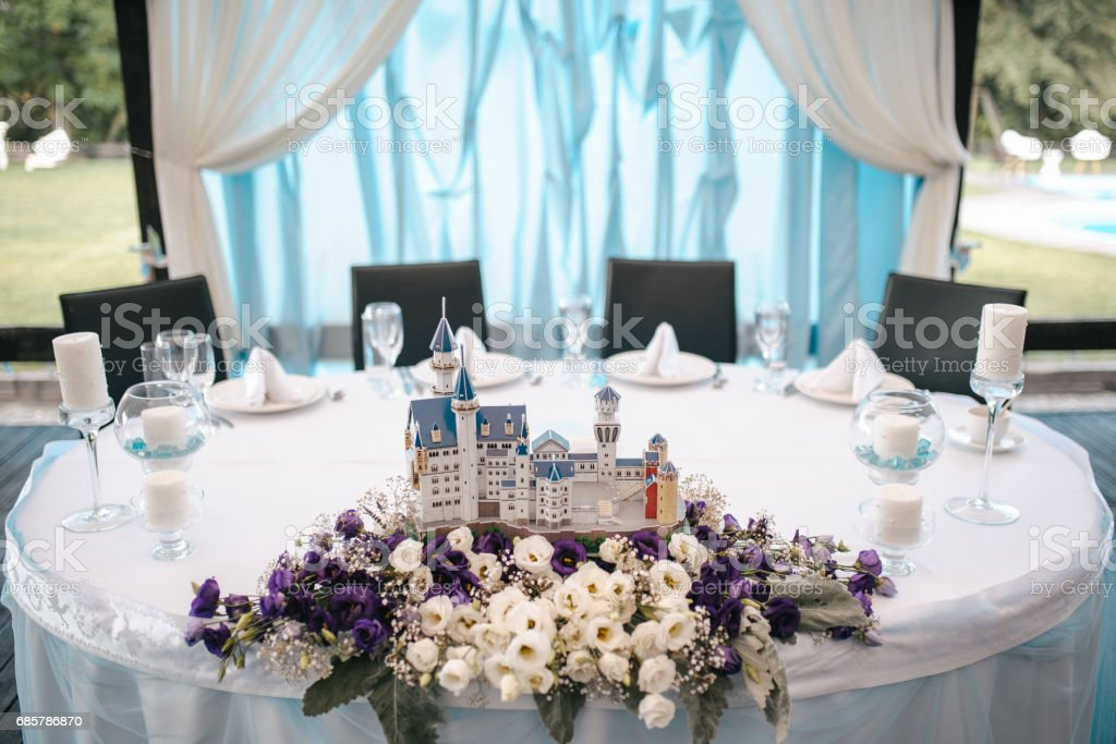 Wedding table decoration elements for a nice lovely banquet royalty-free stock photo
