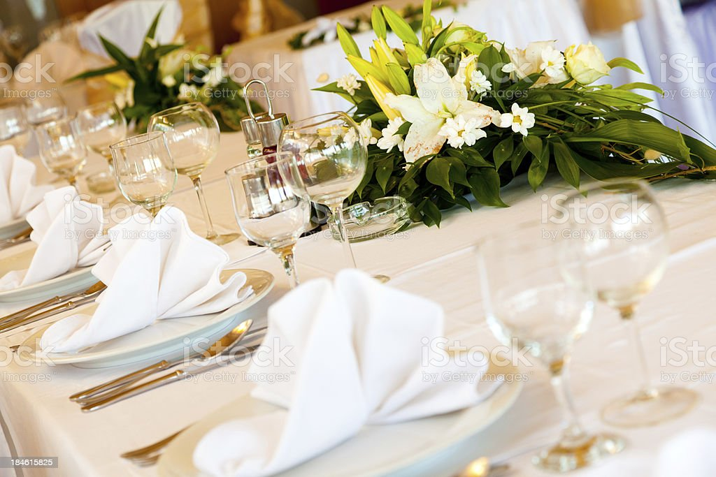 Wedding table decoration with flowers royalty-free stock photo