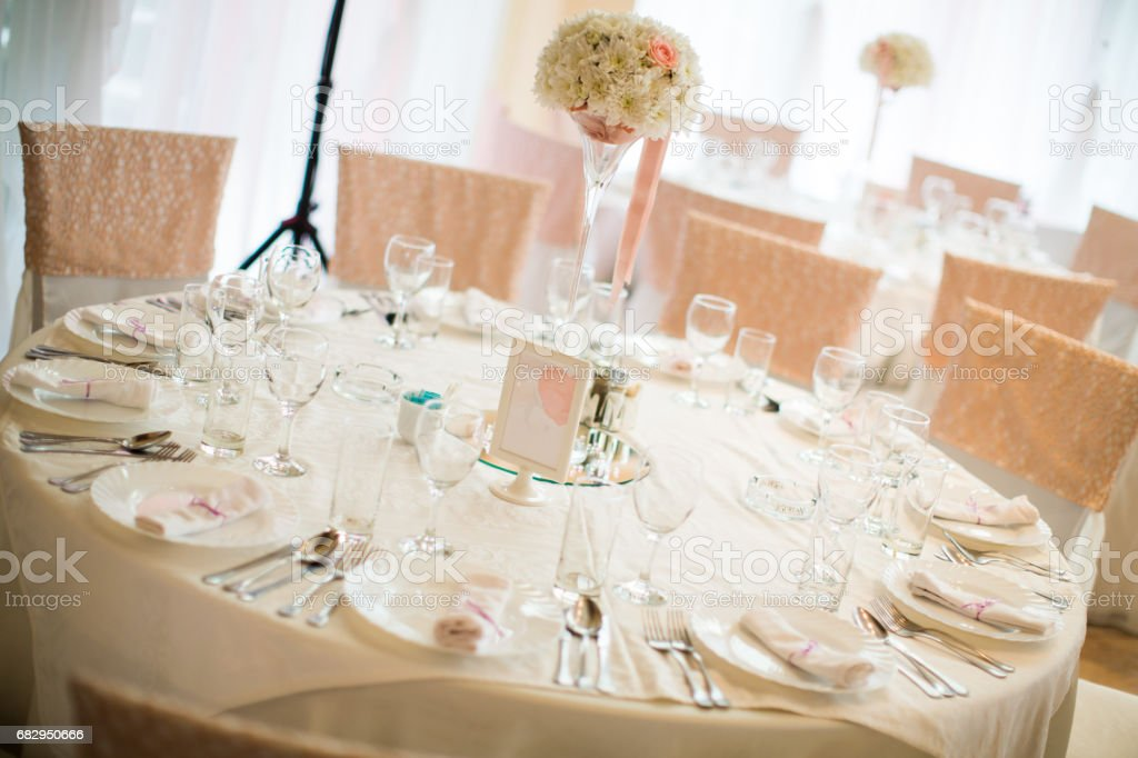 Wedding table decorations royalty-free stock photo