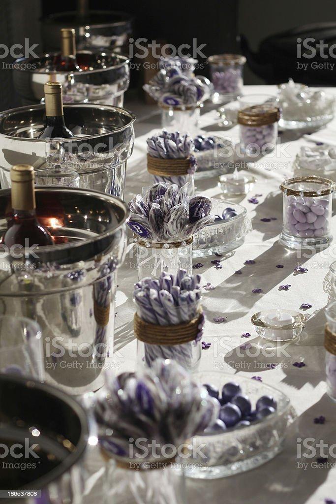 Wedding table favors stock photo