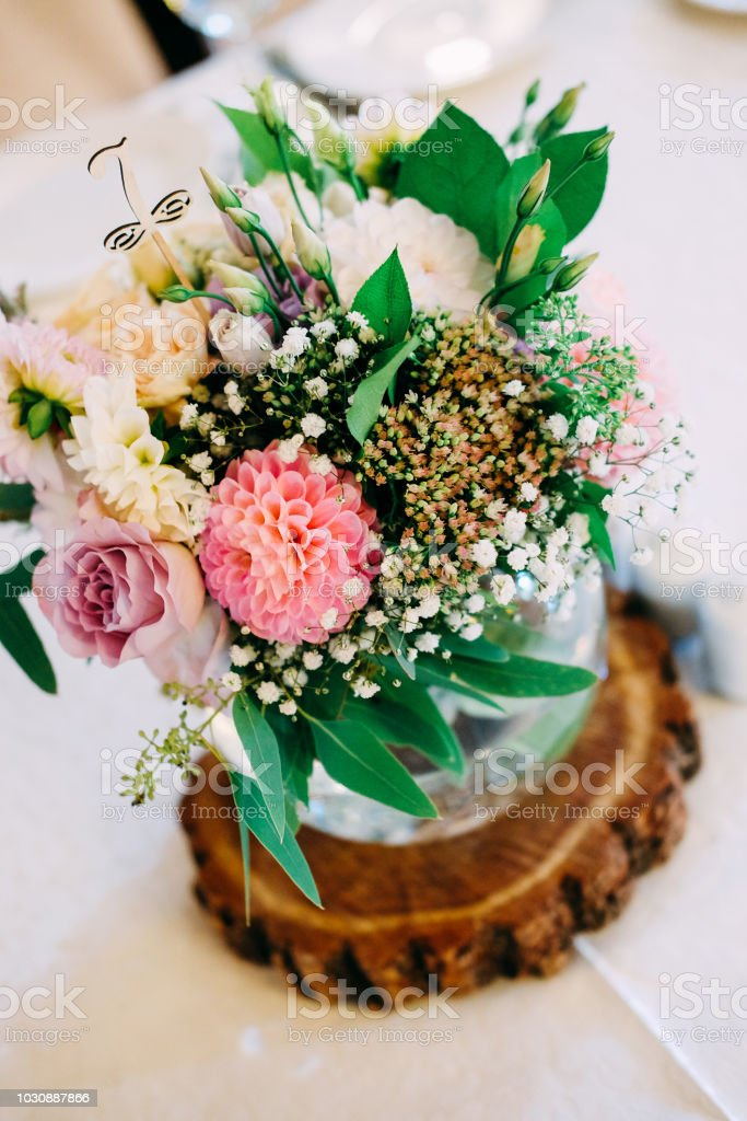 Wedding Table Flower Decoration Glass Vase With Table Number For
