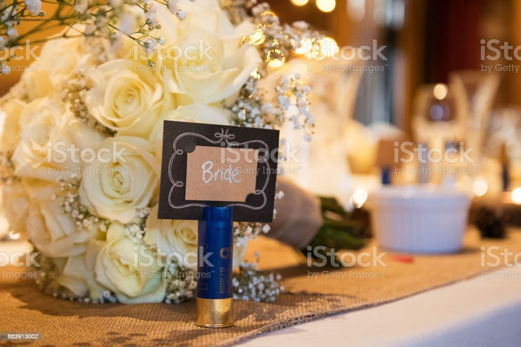 Wedding Table flowers and decorations stock photo