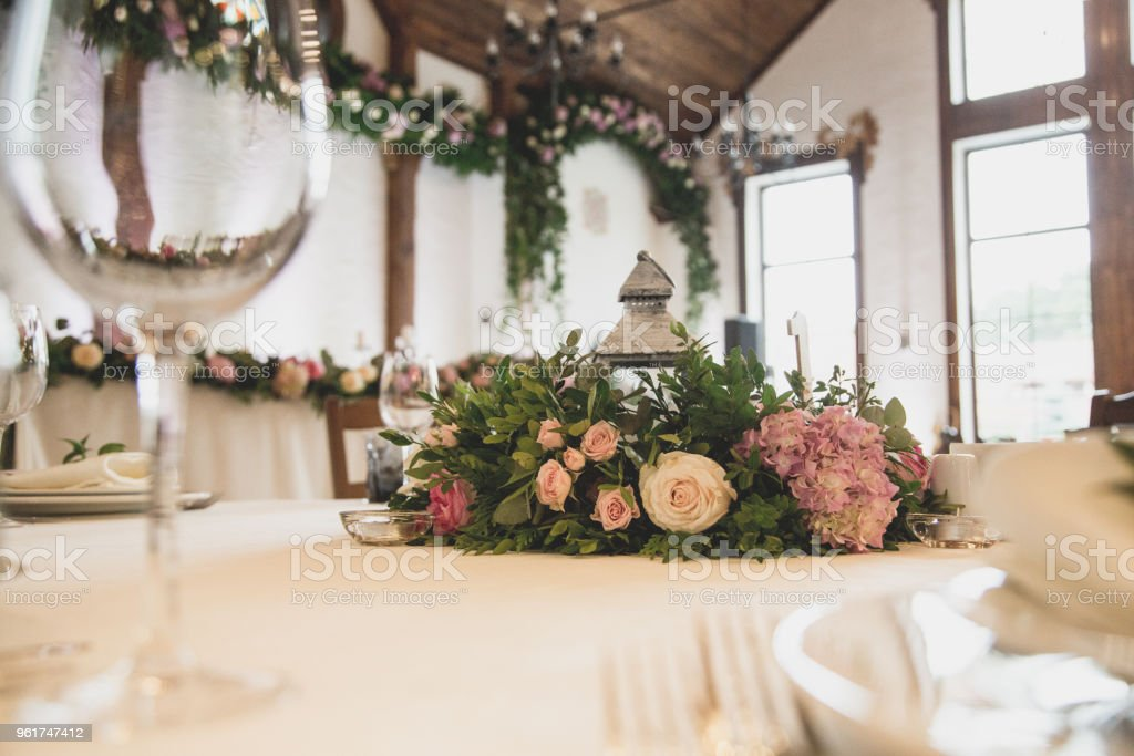 Wedding Table In The Restaurant With A Lot Of Transparent Glasses Napkins And Decoration Of Dishes Stock Photo Download Image Now Istock
