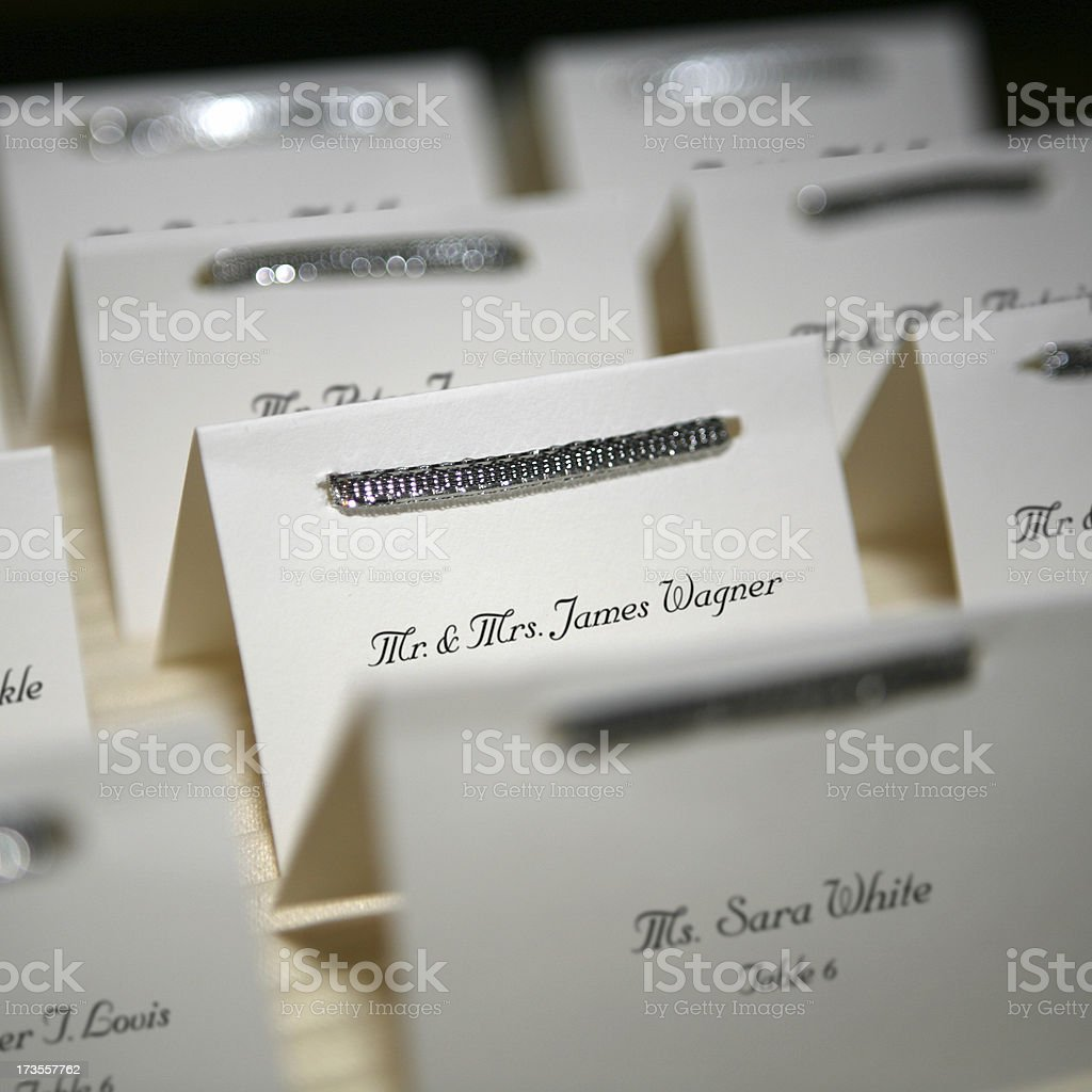 Wedding Table Place cards stock photo